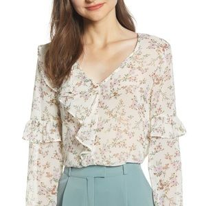 June & Hudson Floral Ruffled Top